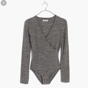 Madewell Wrap Black Bodysuit - XS - Grey